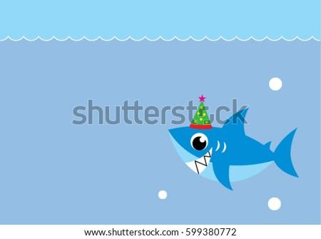 Happy party shark birthday card stock photo photo vector happy party shark birthday card bookmarktalkfo Gallery