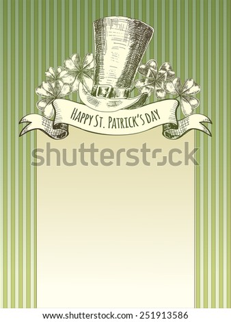 Happy Patricks day. Background with hand drawn vintage elements - stock vector