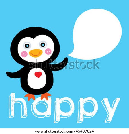 happy penguin greeting card - stock vector
