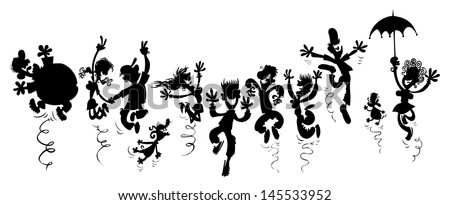 Happy people. Cartoon silhouette drawing. - stock vector