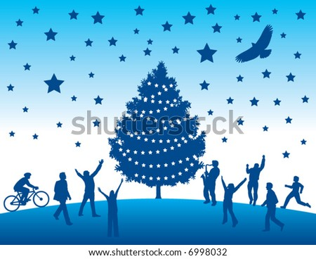 Happy people flock to a christmas terr in this vector art