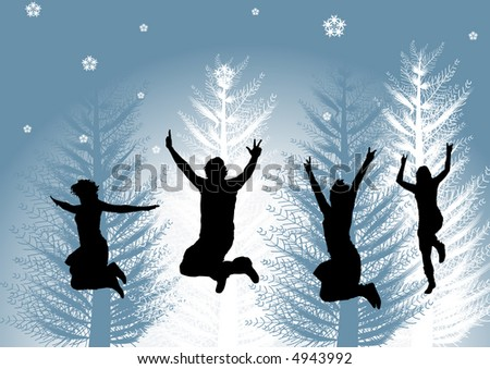 happy people in winter time - stock vector
