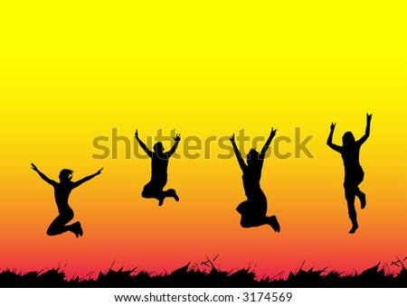 Happy people jumping - stock vector