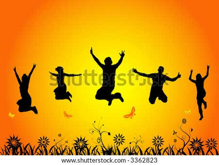 happy people jumping in summer - stock vector