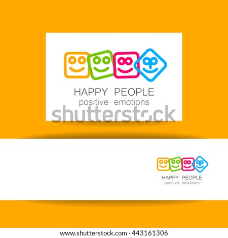 Happy people logo template. Concept identity presentation design for company. Positive emotions, happy games, entertainment sphere, unity emblem, happy people team, society fund and etc. Vector.   - stock vector
