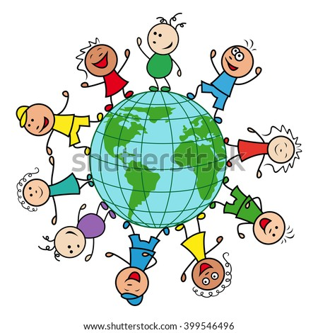 Happy people of different nationalities together around the globe celebrate the Earth Day, cartoon vector illustration - stock vector