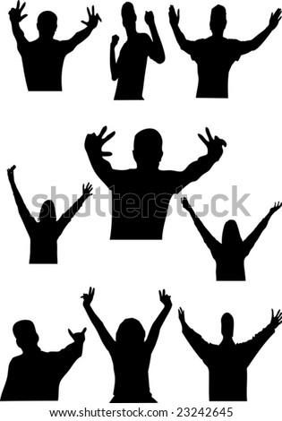 Happy people vector silhouette - stock vector
