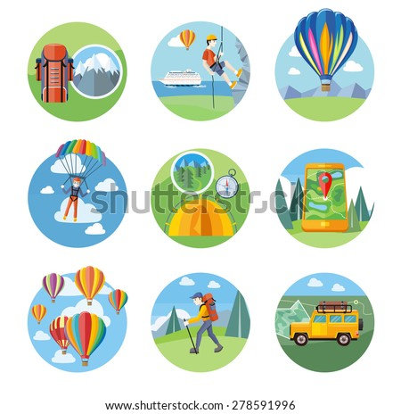 Happy peoples plans with parachute. Man doing rock climbing. Colorful hot air balloons flying over the mountain. Man traveler with backpack hiking. Off-road car with map and compass on road - stock vector