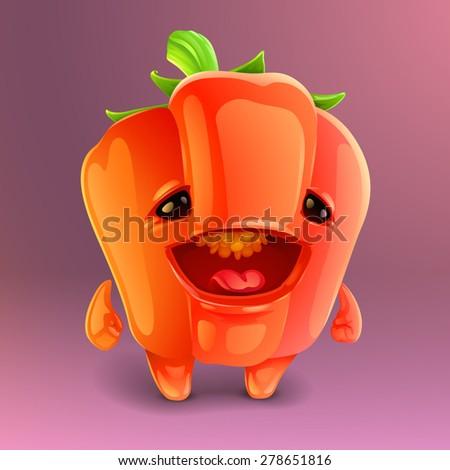 Happy pepper icon - stock vector