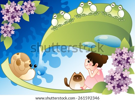 Happy Picnic - blooming lilac flowers and a lovely girl enjoying and sitting on a big green leaf with cute little animals on bright blue background with beautiful landscape : vector illustration - stock vector