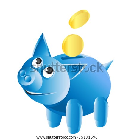 happy pig bank with gold money - stock vector