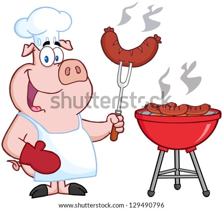 Happy Pig Chef Cook At Barbecue - stock vector