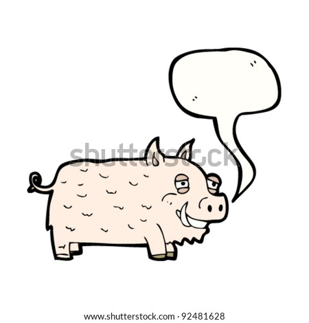 happy pig with speech bubble - stock vector