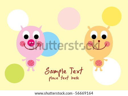 happy piggy and teddy friend - stock vector