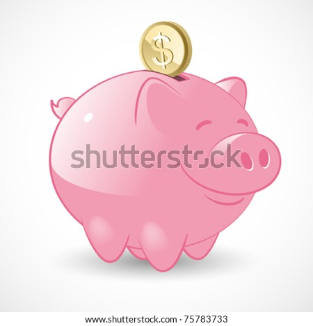 Happy Piggy Bank - stock vector