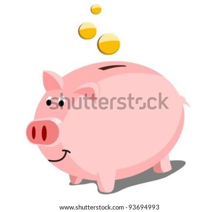 Happy Piggy Bank - stock vector