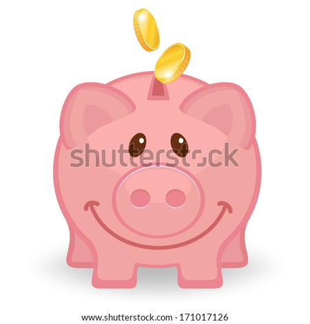 Happy piggy bank with coins  - stock vector