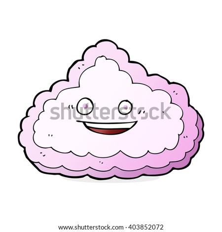 happy pink cloud cartoon - stock vector