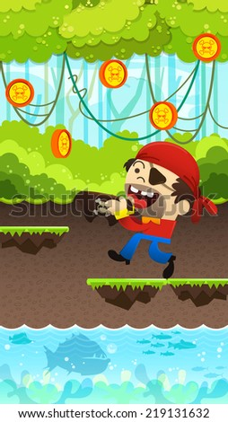 Happy pirates is to get coins, Funny pirates game, Platform Game , illustrator Vector - stock vector