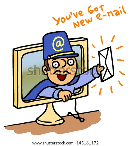 Happy postman is delivering letter from computer monitor