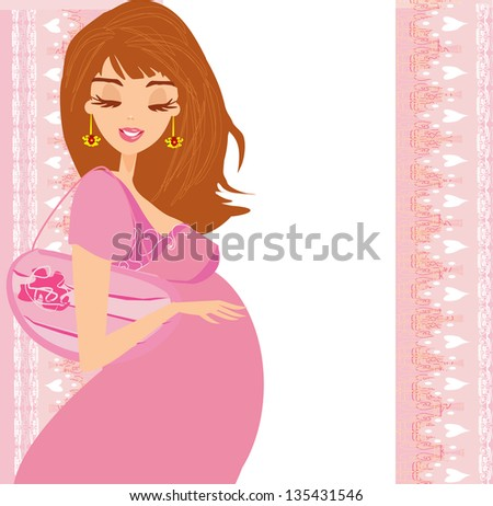 happy pregnant woman, baby shower card - stock vector