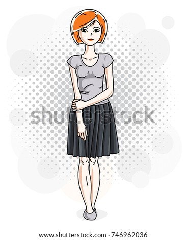 Happy pretty young redhead woman standing on modern background with bubbles and wearing casual clothes. Vector character.