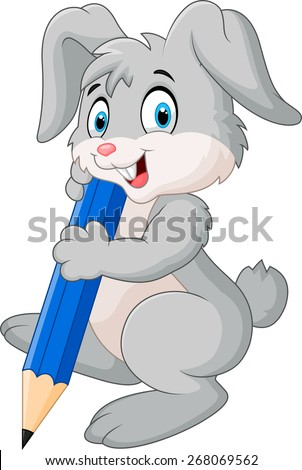 Happy rabbit holding pencil - stock vector