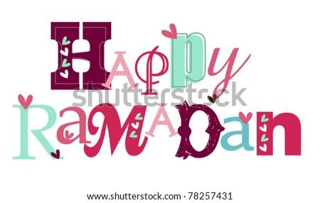 happy ramadan stylized typography - stock vector