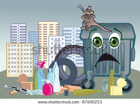 Happy rat on a trash tank in town where does not take apart garbage for the second use - stock vector
