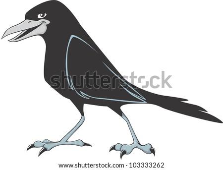 Happy Raven Cartoon - stock vector