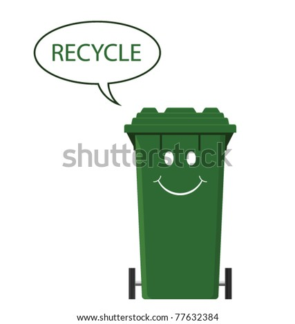 Happy recycling bin isolated on white background - stock vector