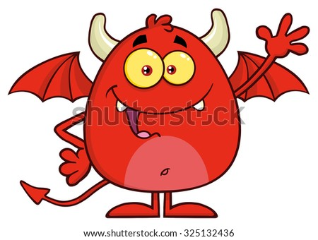 Happy Red Devil Cartoon Character Waving. Vector Illustration  Isolated On White - stock vector