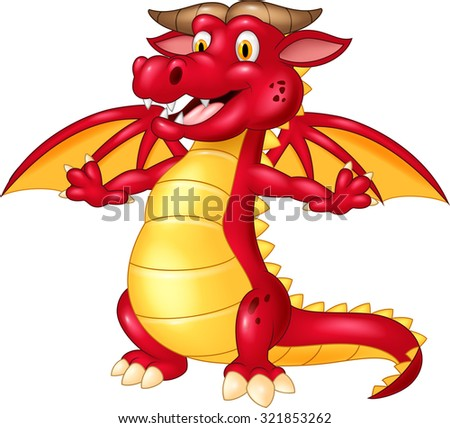 Happy red dragon on isolated background - stock vector
