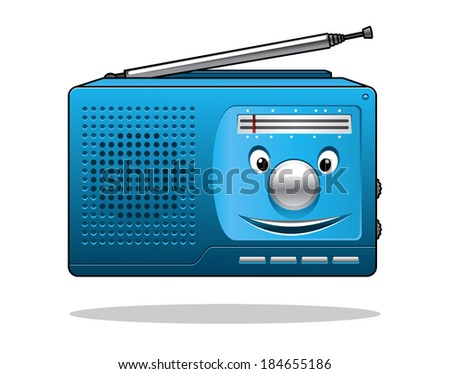 Happy retro blue portable transistor radio with an aerial and smiling face isolated on white - stock vector