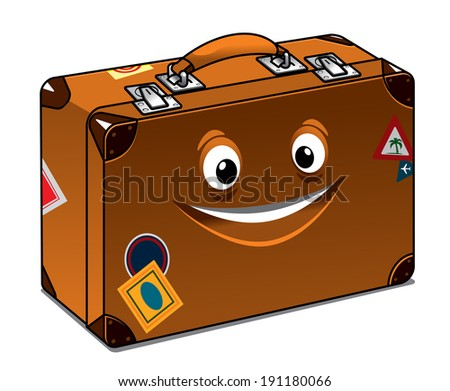 Happy retro brown leather suitcase with a big beaming smile and travel labels for previous vacations isolated on white - stock vector