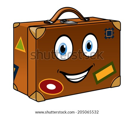 Happy retro well travelled cartoon suitcase with a smiling face and travel labels isolated on white for tourism or journey design - stock vector