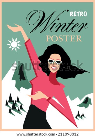 Happy retro woman winter poster background - stock vector