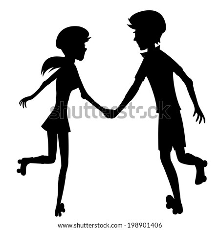 Happy roller-skating couple (silhouette) - Silhouette of a glad young couple is holding hands while skating together - stock vector