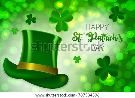 Happy Saint Patricks Day Background with Clover Leaves. Vector Illustration EPS10