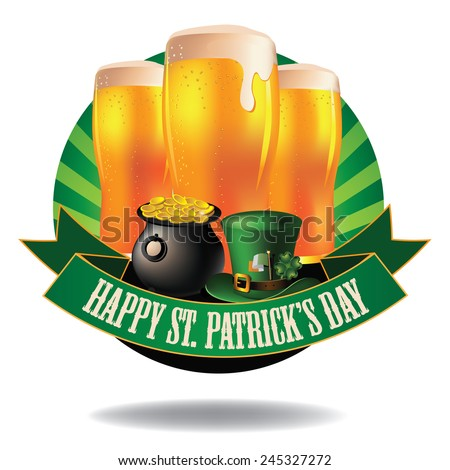 Happy Saint Patricks Day light beer burst icon EPS 10 vector stock illustration - stock vector
