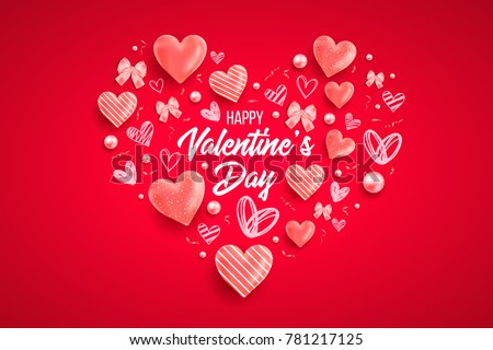Happy Saint Valentineu0027s Day Vector Illustration With Heart, Bow, Pearl,  Lettering, Ribbon