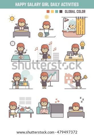 happy salary girl daily life  routine
