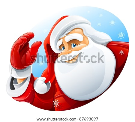 happy Santa Claus face greeting vector illustration isolated on white background - stock vector