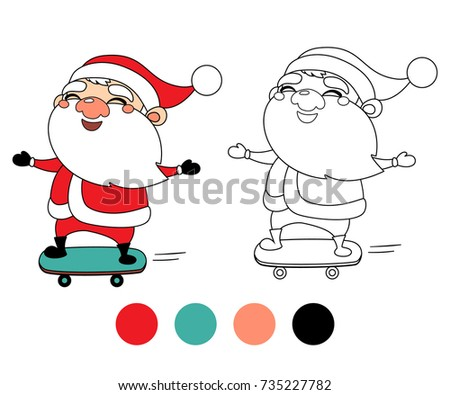 happy santa claus on a skateboard christmas coloring book page cartoon vector illustration