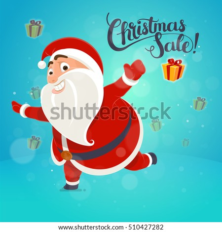 Happy Santa Claus points on the inscription card concept, poster lettering idea Holiday Sale