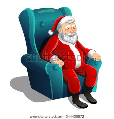 Happy Santa Claus sitting in armchair on a white background. Vector Christmas Scene - stock vector