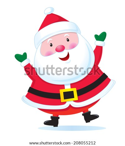 Happy Santa Claus with Arms Up - stock vector