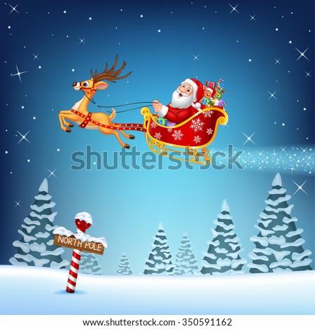 Happy Santa in his Christmas sled being pulled by reindeer - stock vector