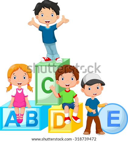 Happy school children playing with alphabet blocks - stock vector