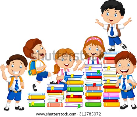 Happy schoolkids playing with stack of book  - stock vector